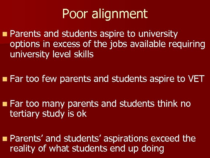 Poor alignment n Parents and students aspire to university options in excess of the