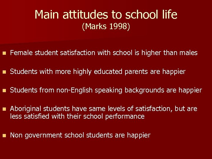 Main attitudes to school life (Marks 1998) n Female student satisfaction with school is