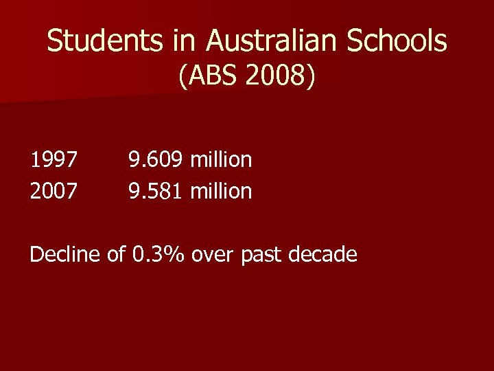 Students in Australian Schools (ABS 2008) 1997 2007 9. 609 million 9. 581 million