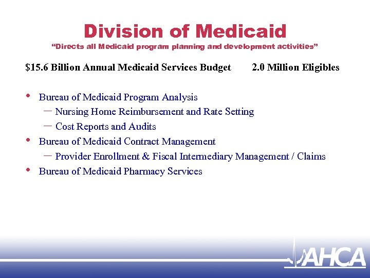 """Division of Medicaid """"Directs all Medicaid program planning and development activities"""" $15. 6 Billion"""