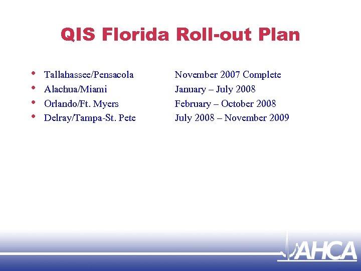 QIS Florida Roll-out Plan • • Tallahassee/Pensacola Alachua/Miami Orlando/Ft. Myers Delray/Tampa-St. Pete November 2007