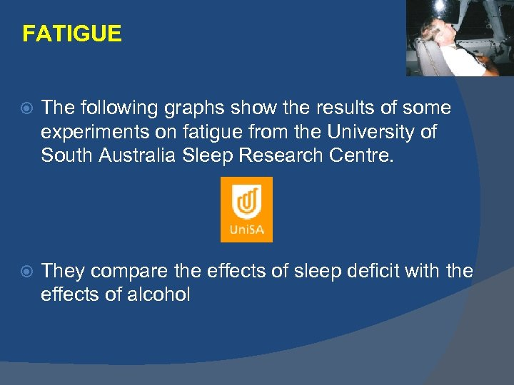 FATIGUE The following graphs show the results of some experiments on fatigue from the