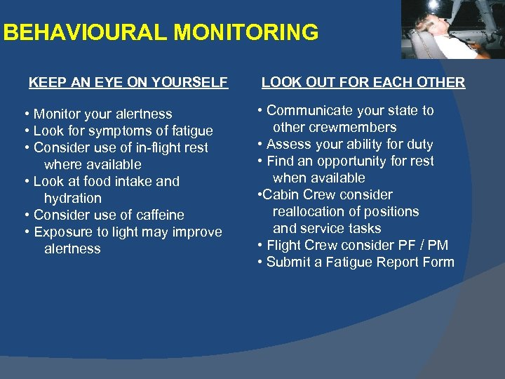 BEHAVIOURAL MONITORING KEEP AN EYE ON YOURSELF LOOK OUT FOR EACH OTHER • Monitor