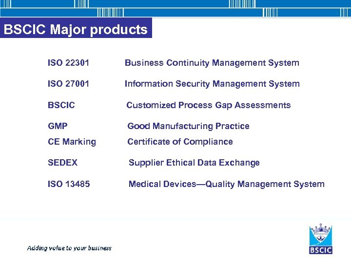 BSCIC Major products ISO 22301 Business Continuity Management System ISO 27001 Information Security Management