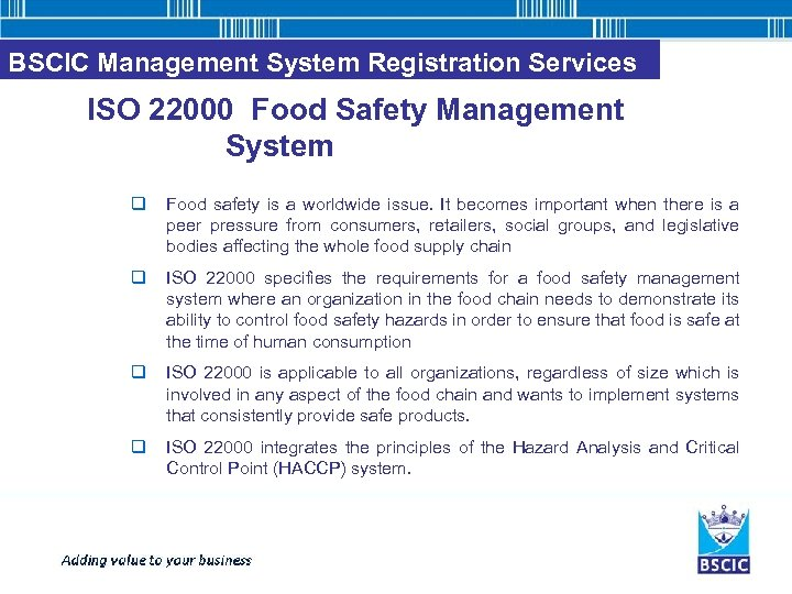 BSCIC Management System Registration Services ISO 22000 Food Safety Management System q Food safety