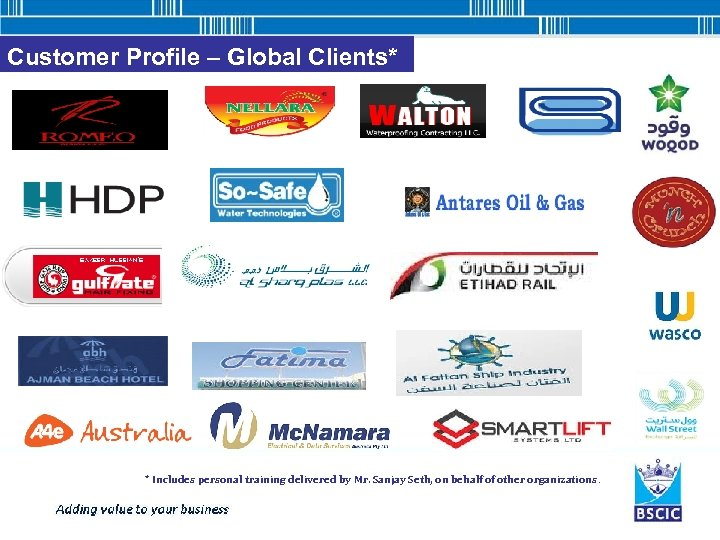 Customer Profile – Global Clients* * Includes personal training delivered by Mr. Sanjay Seth,