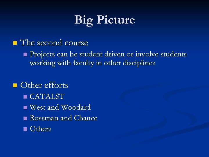 Big Picture n The second course n n Projects can be student driven or
