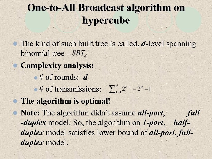 One-to-All Broadcast algorithm on hypercube The kind of such built tree is called, d-level