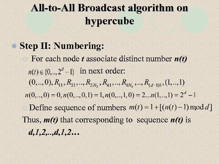 All-to-All Broadcast algorithm on hypercube l Step ¡ II: Numbering: For each node t