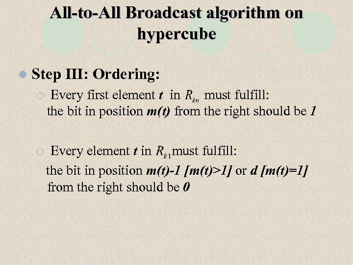 All-to-All Broadcast algorithm on hypercube l Step III: Ordering: ¡ Every first element t