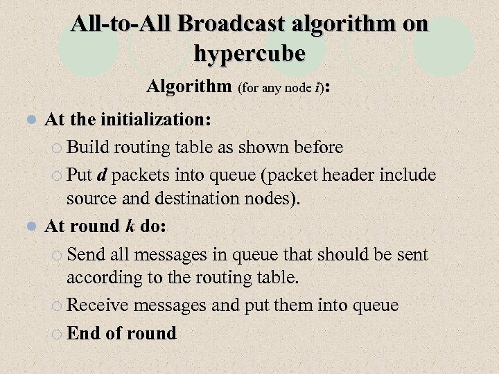 All-to-All Broadcast algorithm on hypercube Algorithm (for any node i): At the initialization: ¡