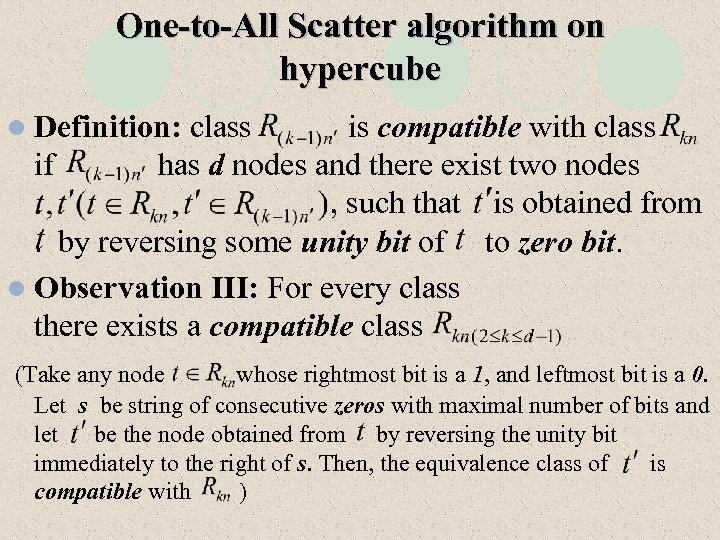 One-to-All Scatter algorithm on hypercube l Definition: class is compatible with class if has