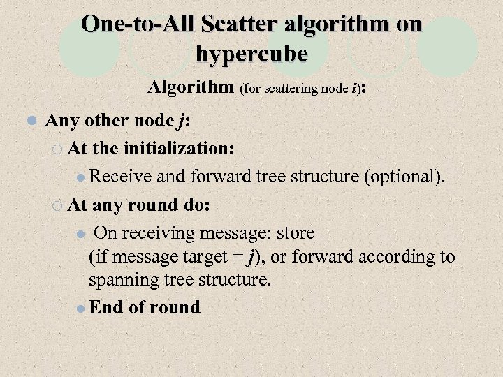 One-to-All Scatter algorithm on hypercube Algorithm (for scattering node i): l Any other node