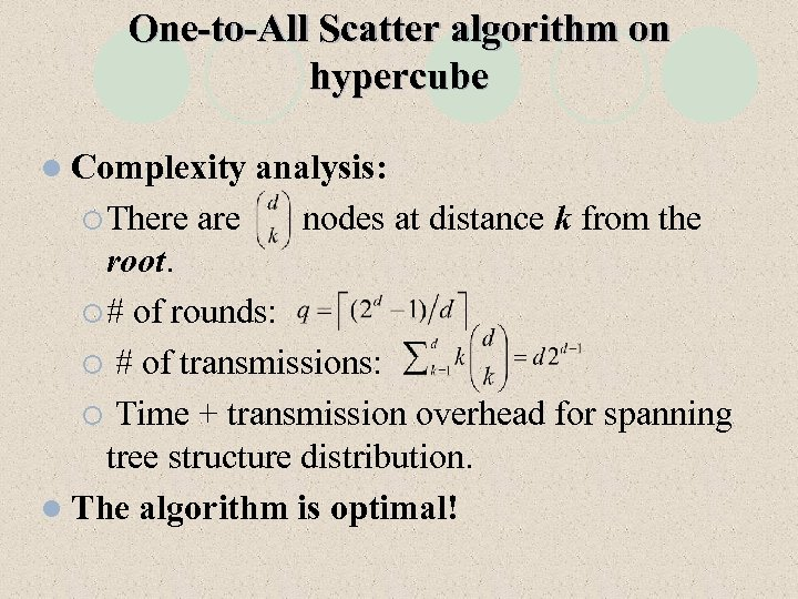 One-to-All Scatter algorithm on hypercube l Complexity analysis: ¡ There are nodes at distance