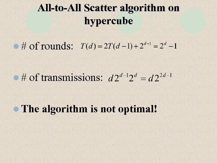 All-to-All Scatter algorithm on hypercube l# of rounds: l# of transmissions: l The algorithm