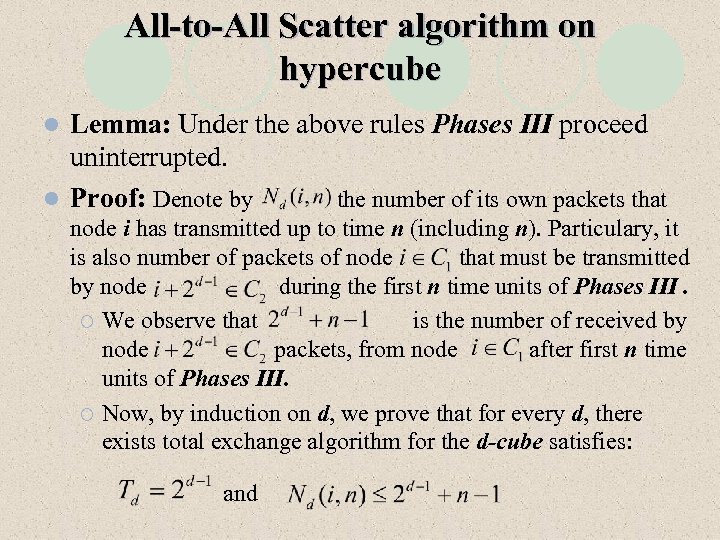 All-to-All Scatter algorithm on hypercube Lemma: Under the above rules Phases III proceed uninterrupted.