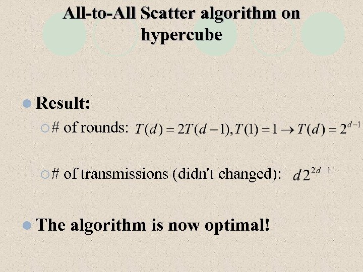 All-to-All Scatter algorithm on hypercube l Result: ¡# of rounds: ¡# of transmissions (didn't