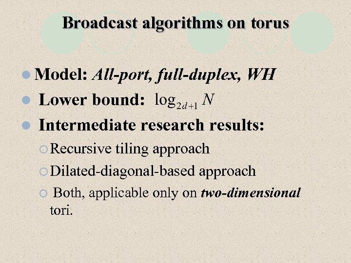 Broadcast algorithms on torus l Model: All-port, full-duplex, WH l Lower bound: l Intermediate