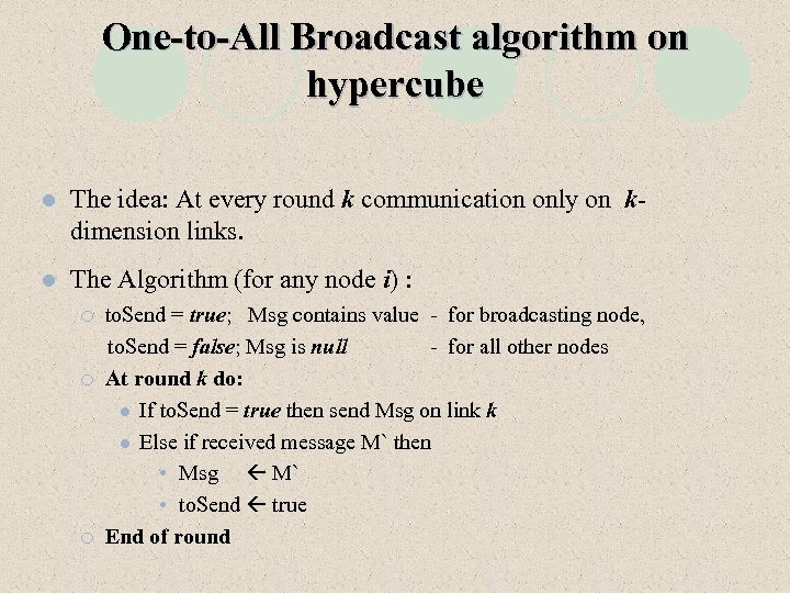 One-to-All Broadcast algorithm on hypercube l The idea: At every round k communication only