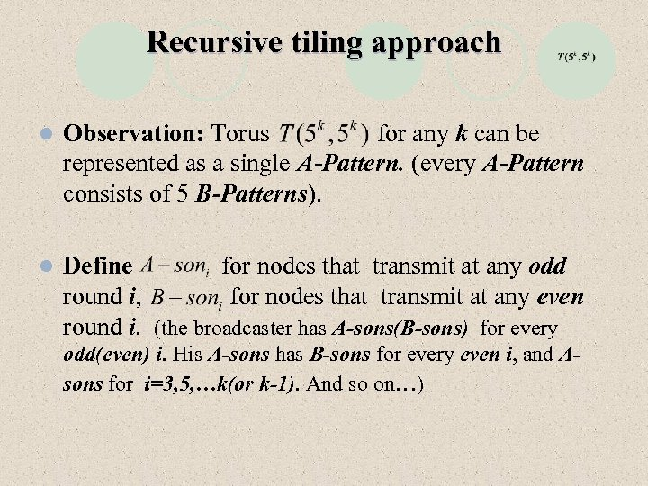 Recursive tiling approach l Observation: Torus for any k can be represented as a
