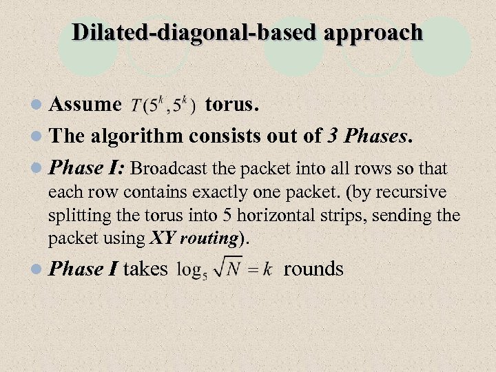 Dilated-diagonal-based approach l Assume torus. l The algorithm consists out of 3 Phases. l