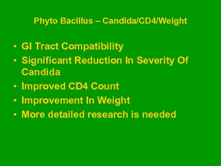 Phyto Bacillus – Candida/CD 4/Weight • GI Tract Compatibility • Significant Reduction In Severity