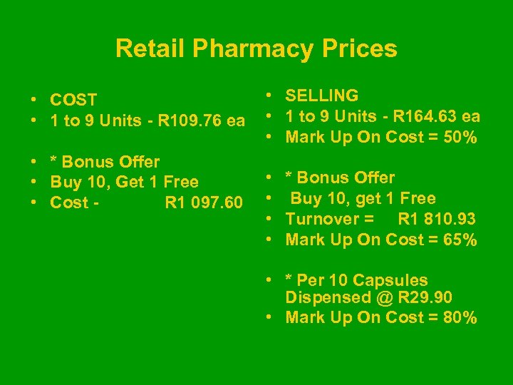 Retail Pharmacy Prices • COST • 1 to 9 Units - R 109. 76