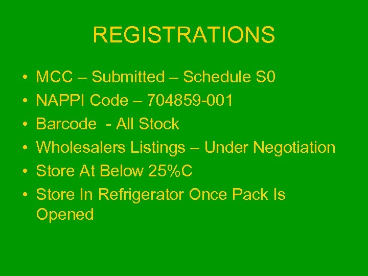 REGISTRATIONS • • • MCC – Submitted – Schedule S 0 NAPPI Code –
