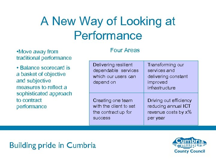A New Way of Looking at Performance Four Areas • Move away from traditional