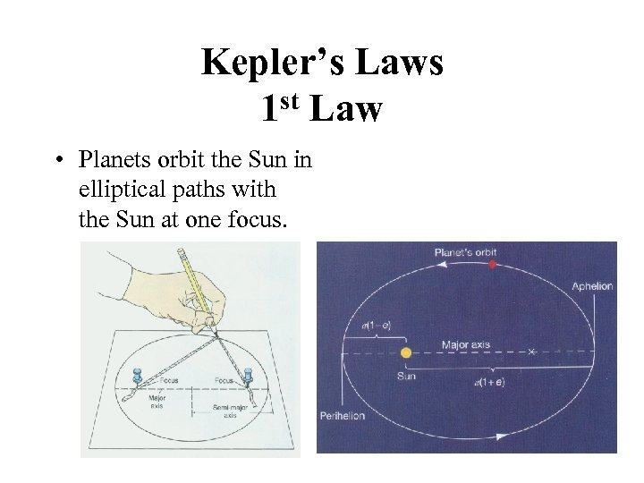 Kepler's Laws 1 st Law • Planets orbit the Sun in elliptical paths with