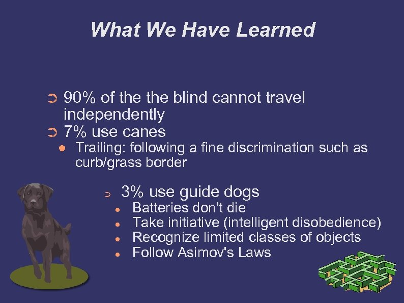 What We Have Learned 90% of the blind cannot travel independently ➲ 7% use