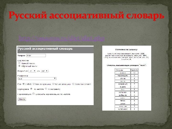 Русский ассоциативный словарь http: //tesaurus. ru/dict. php