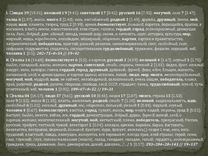 L люди 39 [19. 31]; великий 19 [9. 41]; советский 17 [8. 42]; русский