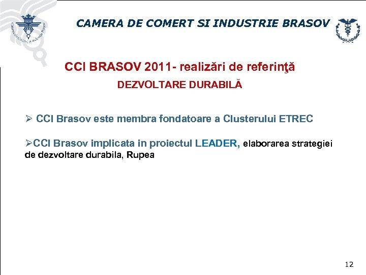 CAMERA DE COMERT SI INDUSTRIE BRASOV CCI BRASOV 2011 - realizări de referinţă DEZVOLTARE