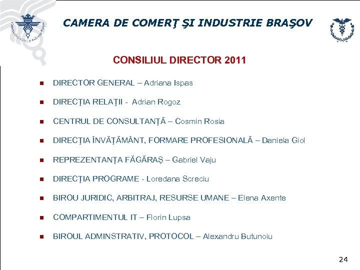 CAMERA DE COMERŢ ŞI INDUSTRIE BRAŞOV CONSILIUL DIRECTOR 2011 n DIRECTOR GENERAL – Adriana
