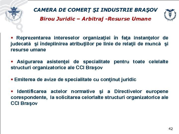 CAMERA DE COMERŢ ŞI INDUSTRIE BRAŞOV Birou Juridic – Arbitraj -Resurse Umane § Reprezentarea