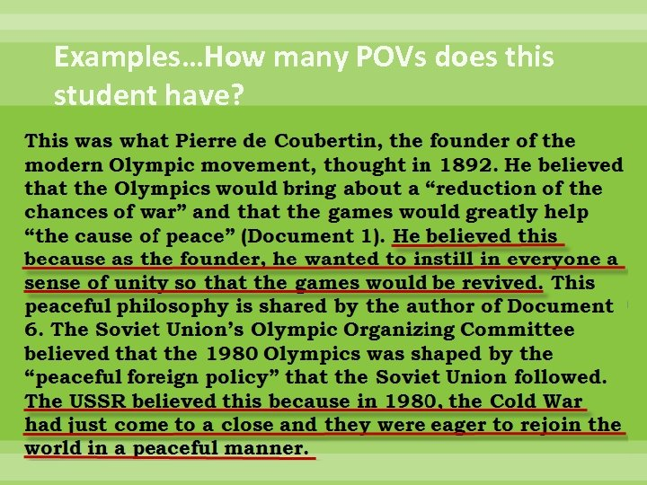 Examples…How many POVs does this student have?