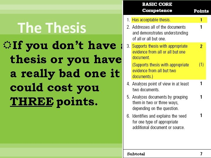 The Thesis If you don't have a thesis or you have a really bad