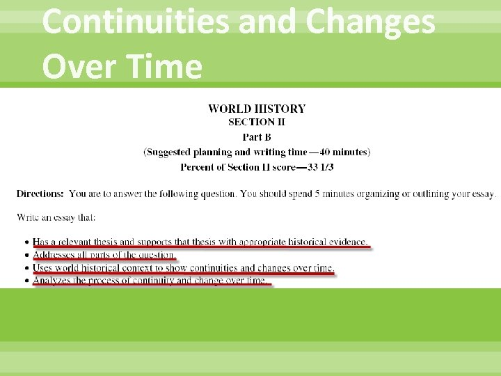 Continuities and Changes Over Time