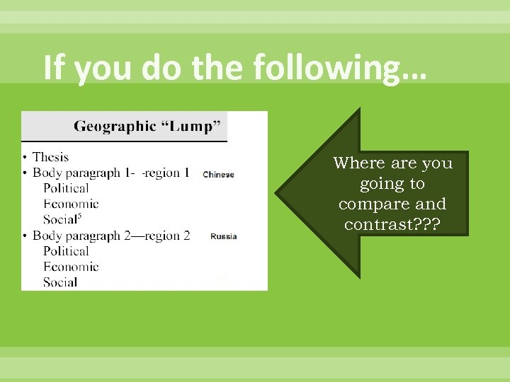 If you do the following… Where are you going to compare and contrast? ?