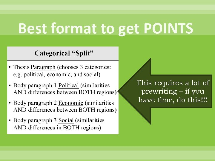 Best format to get POINTS This requires a lot of prewriting – if you