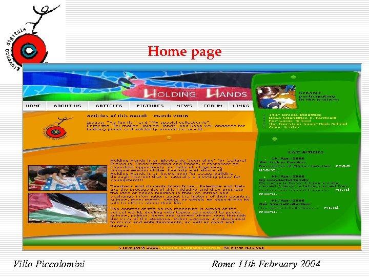 Home page Villa Piccolomini Rome 11 th February 2004