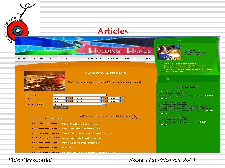 Articles Villa Piccolomini Rome 11 th February 2004