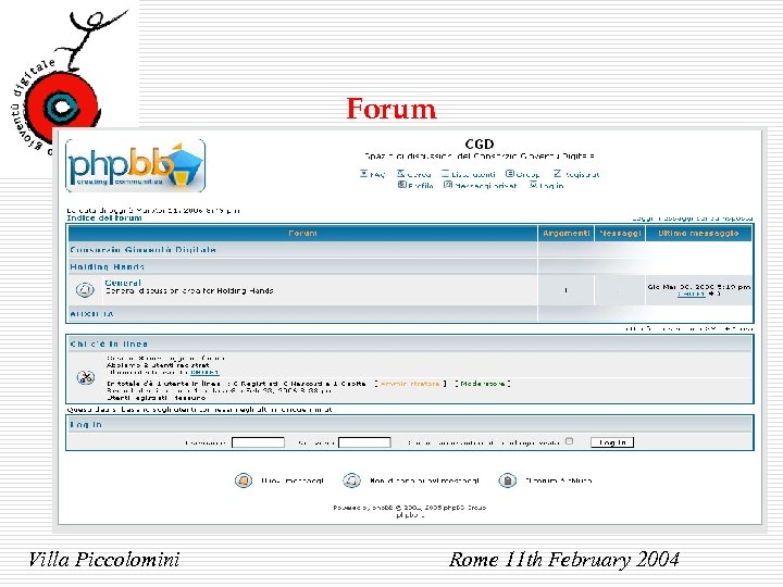 Forum Villa Piccolomini Rome 11 th February 2004