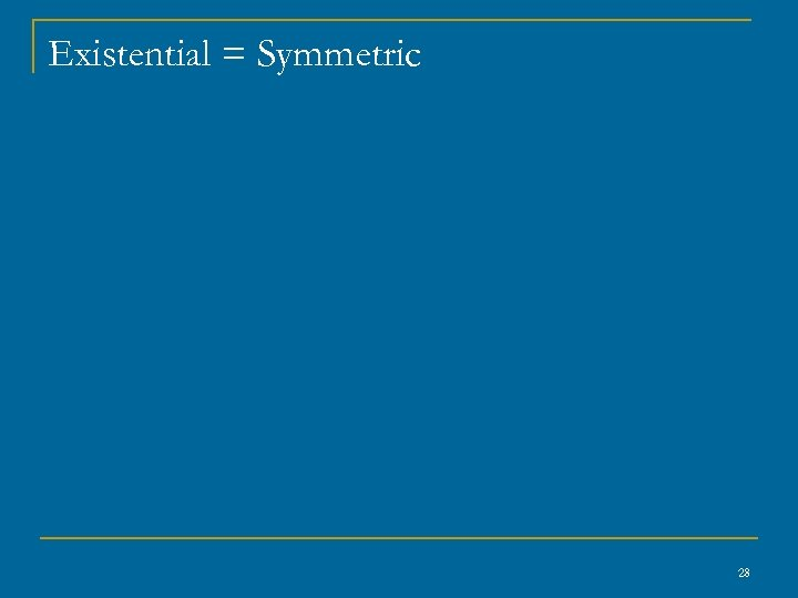 Existential = Symmetric 28