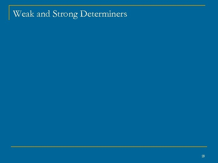 Weak and Strong Determiners 29