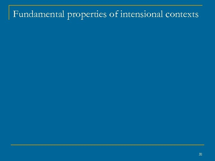 Fundamental properties of intensional contexts 32