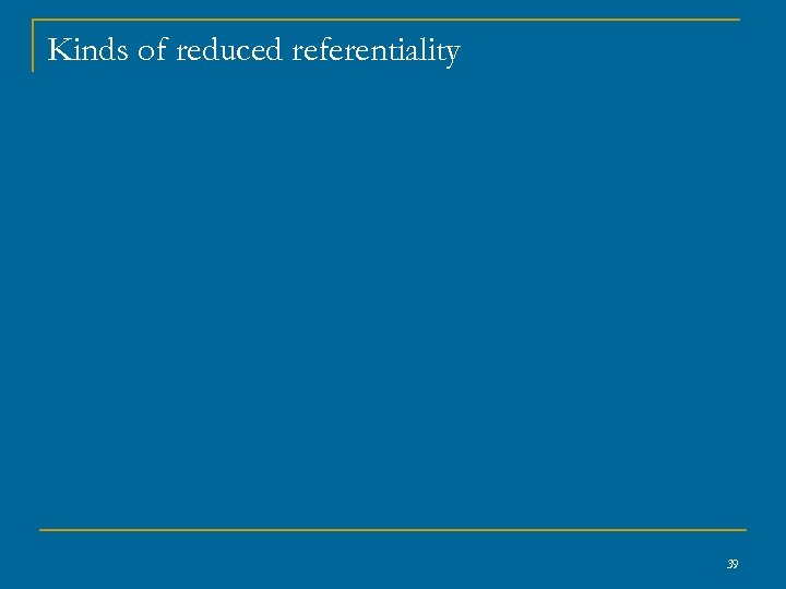 Kinds of reduced referentiality 39