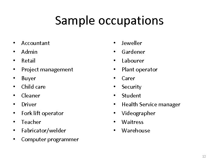 Sample occupations • • • Accountant Admin Retail Project management Buyer Child care Cleaner