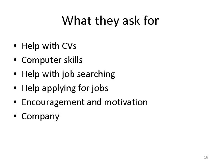 What they ask for • • • Help with CVs Computer skills Help with